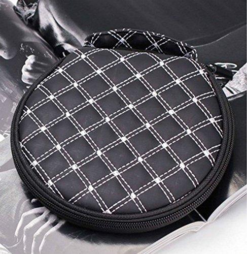 GreenSun(TM) 1PC Round Vehicle Auto Car 20 CD VCD DVD Case Wallet Storage Holder Bag Black with white line