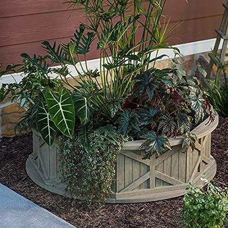 Amazon Com Rustic Gray Wash Finish Circular Wood Raised Garden