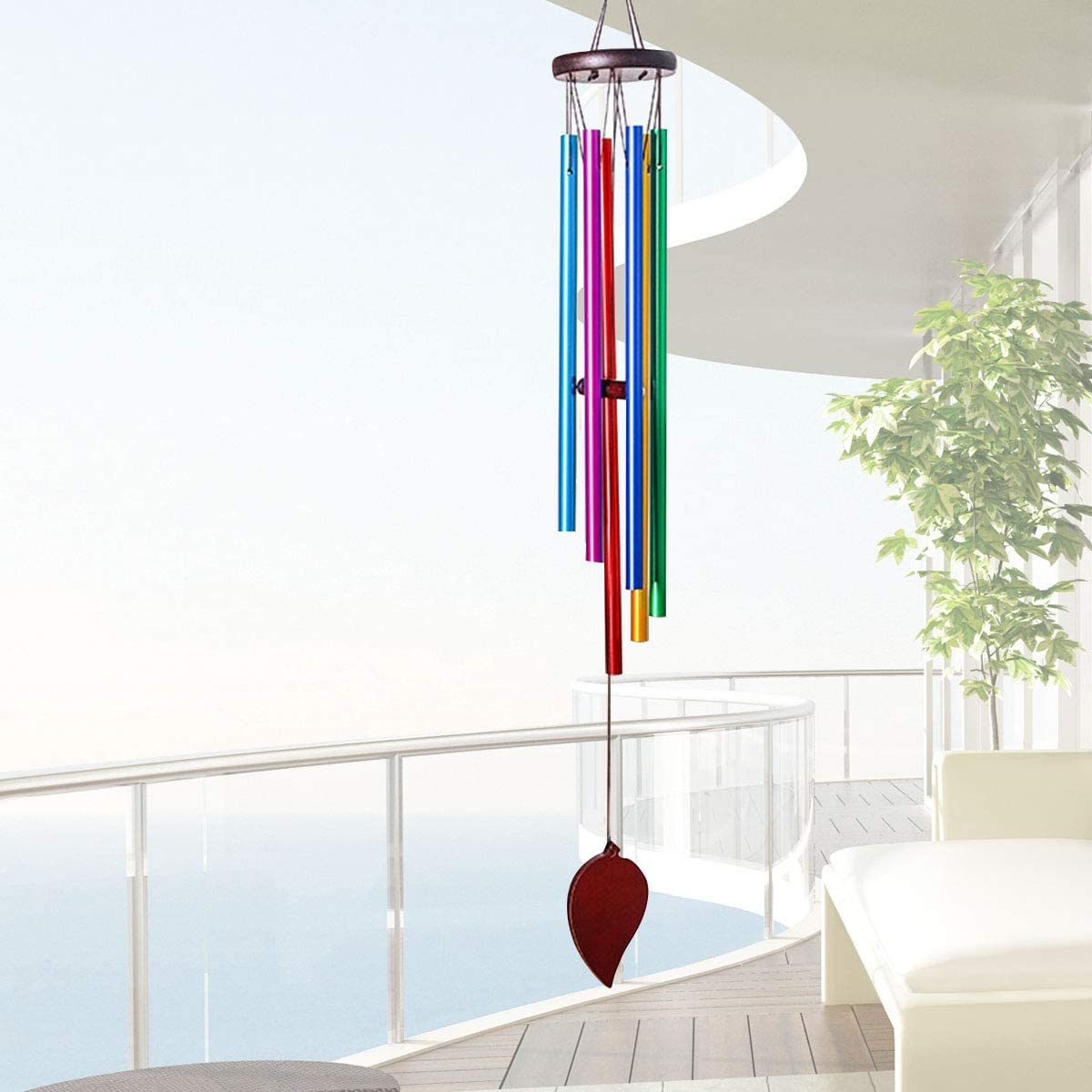 Haokaini Wind Chimes Outdoor Garden Windchime 6 Metal Tubes Large Musical Windchime for Indoor Outdoor Patio Balcony Yard Terrace Decor