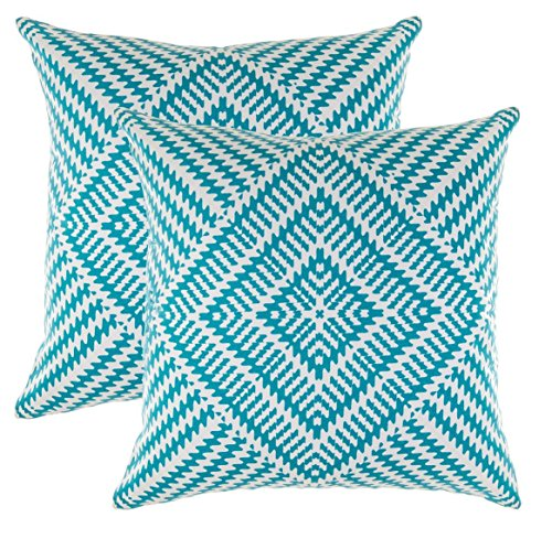 TreeWool Decorative Square Throw Pillow Covers Set Kaleidoscope Accent 100% Cotton Cushion Cases Pillowcases (16 x 16 Inches / 40 x 40 cm; Turquoise & White) - Pack of 2