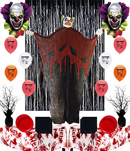 Creepy Carnival Clown Halloween Trick or Treat Party Supply and Room Decorating Kit
