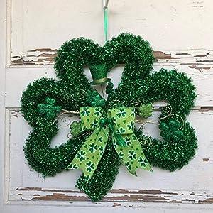 AGD St Patrick's Day Decor - Green Tinsel Shamrock Wreath 16