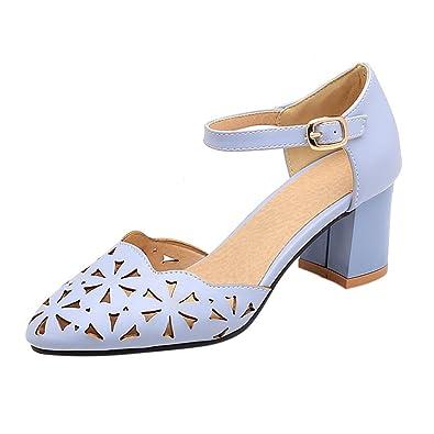 UH Damen Cut Out Sandalen Blockabsatz Spitze High Heels mit Riemchen Sommer Schuhe