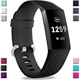 Hamile Bands Compatible with Fitbit Charge 3, Waterproof Replacement Watch Strap Fitness Sport Band Wristband for Fitbit Charge 3, Small, Black
