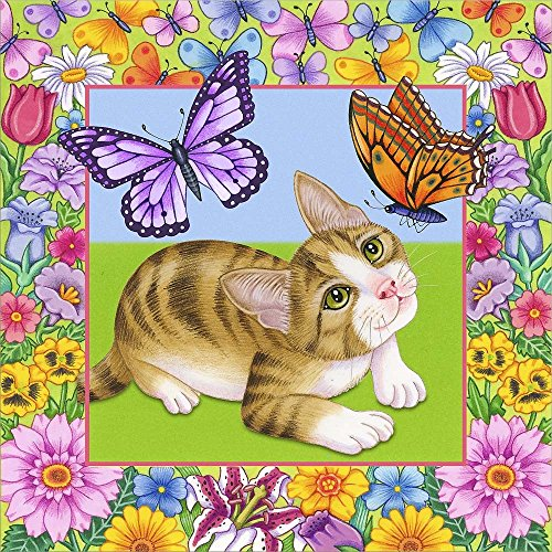 Butterfly Kitten by Tomoyo Pitcher Laminated Art Print, 24 x 24 inches (Pitchers Kitten)