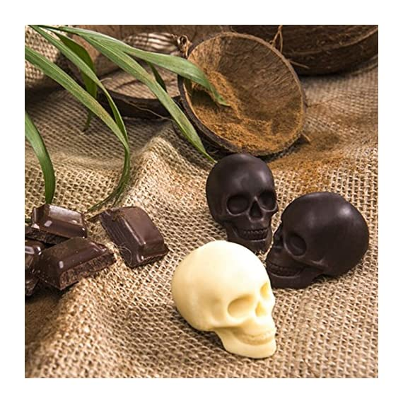 "3D Skull Ice Mold-2Pack,Easy Release Silicone Mold,8 Cute and Funny Ice Skull for Whiskey,Cocktails and Juice Beverages,Black 8 2 pack ice mold :eight giant skull shape ice cubes (2"" X 2.5"") make your drink look awesome. Great for parties, bars, restaurants, summer, holiday events and holiday gifts. Reliable material: food grade silicone. Non-toxic.100% safe to use. Non-stick materials. Easy to make a full skull ice.This durable and flexible silicone ice tray won't crack or break like plastic ice tray; easy to fill, remove and clean. Multiple use: it can also be used as mousse mold, sugar mold, chocolate, ice cream, soap making tools. And it is fantastic to be used in various occasions like parties, beaches, wine party and holiday events etc."