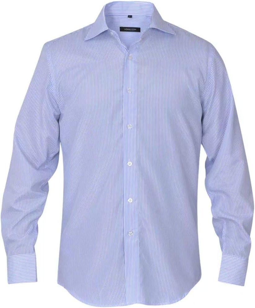 Tidyard Camisa de Vestir de Hombre Talla L Rayas Blanca y Azul ...