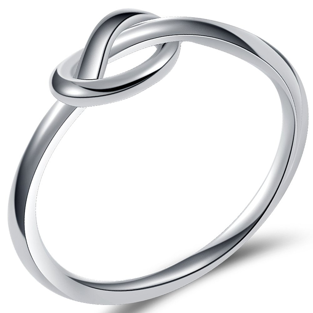 Jude Jewelers Durable Stainless Steel Silver Black Love Knot Ring Promise Celtic 1J53