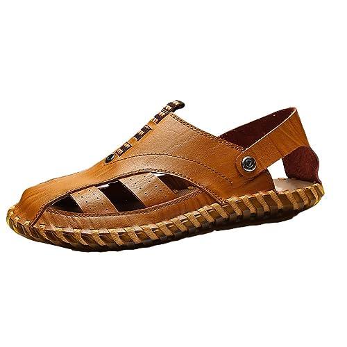 Homme Beach Sandales De Cuir Plein Bout Chaussures Air Fashion Fermé XrZxXqwa