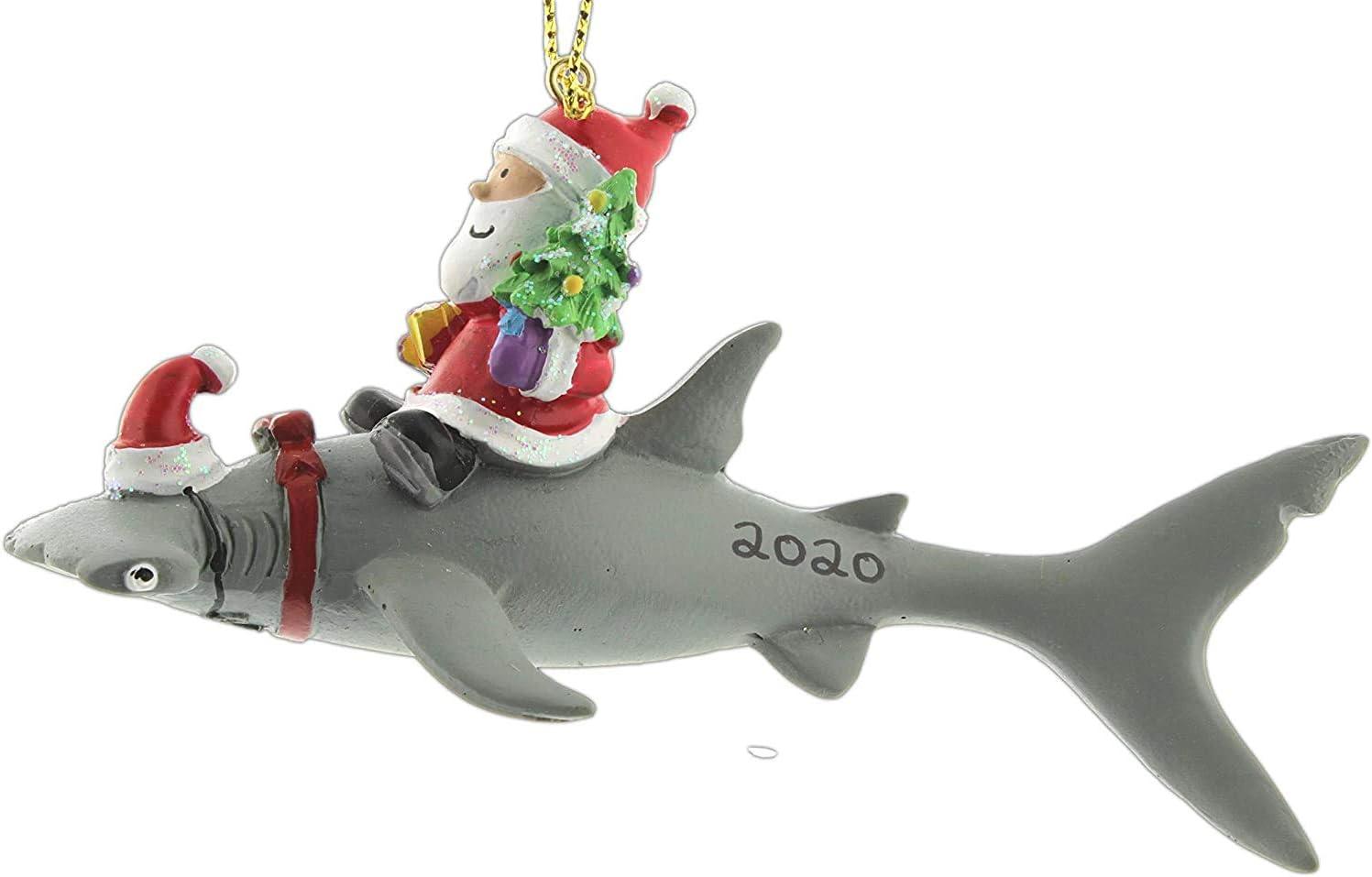 Cape Shore Santa Riding Hammerhead Shark Coastal Deep Sea Christmas Holiday Ornament (Regular) (2020)