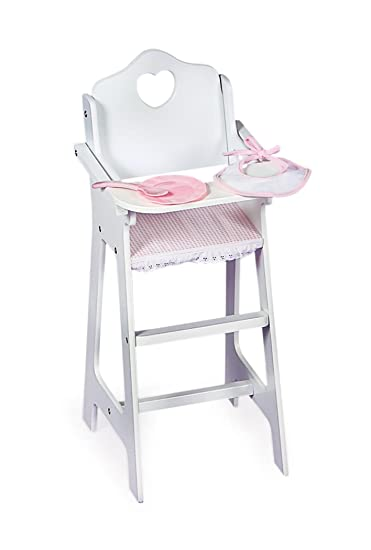 Amazoncom Badger Basket White Doll High Chair with Plate Bib