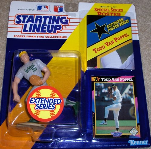 (1991 - Kenner - Starting Lineup - Extended Series - MLB - Todd Van Poppel #59 - Oakland Athletics - w/ 11x14 Special Series Poster & Trading Card - Limited Edition - Collectible)