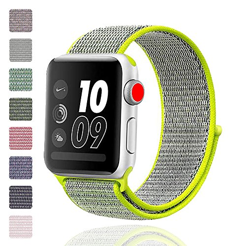 iMoway Sport Loop Band Compatible for Apple Watch 38mm 42mm, Nylon Replacement Wristbands Compatible for iWatch Series 1/2/3, Nike+,Sport,Edition (Yellow, 38mm)