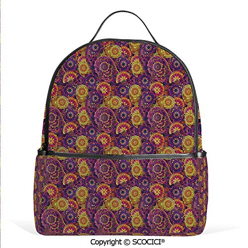 Lightweight Chic Bookbag Traditional Paisley Motifs Pattern Oriental Design Flower Ornaments Curvy Antique,Multicolor,Satchel Travel Bag Daypack (Christmas Of Pottery 12 Days Ornaments Barn)