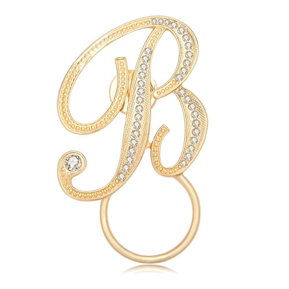 SENFAI 10K Real Gold Plated Script Initial Eyeglass Magnetic Holder for Mother Father(B)