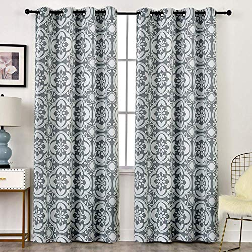 Haperlare Floral Blackout Bedroom Curtains, Medallion Pattern Room Darkening Thermal Insulated Window Drapes for Bedroom, Grommet Top Curtains - W52 x L84 Inch, 2 Panels, Light Grey/Aqua (Drapes Curtains Pattern)