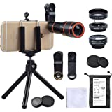 Apexel 12X Telescope,Fisheye,Marco,Wide Angle Phone Camera Lens Kit, 4 in 1, HD 12X Zoom Telescope Lens+ Fisheye+ Wide Angle+Macro Lens, with Phone Holder and Tripod, Clip on Cell Phone Lens for iPhone 8/7/6s Plus/SE, iPad, Samsung, Google