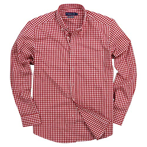 (Men's Long Sleeve Slim Fit Button Down Stretch Gingham Plaid Casual Shirt (Red/White, Slim Fit: Medium))