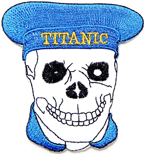 TITANIC Sailor Skull Ghost Logo Biker Lady Rider Hippie Punk Rock Heavy Metal Tatoo Jacket T-shirt Patch Sew Iron on Embroidered Sign Badge -