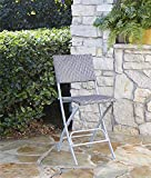 Cosco Outdoor High Top Bistro Stools, Folding, 2-Pack, Steel Frame with Blue and Gray Wicker