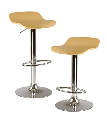 Winsome Kallie Air Lift Adjustable Stools And Natural Color Wood Veneer  Seat With Metal Base,