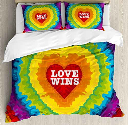 Pride Decorations Queen Size Duvet Cover Set by Ambesonne, Love Wins Celebration Tie Dye Backdrop Rainbow Colors Happiness Vintage, Decorative 3 Piece Bedding Set with 2 Pillow Shams, Multicolor by Ambesonne