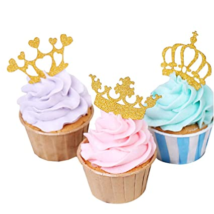 10 x Baby Shower Cupcake Stick Pick Boy Girl Gold Crown Glitter Cake Decoration