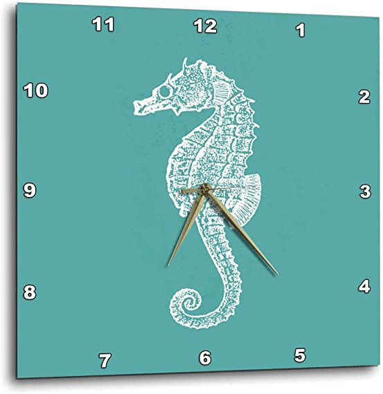 3dRose DPP_164965_1 Teal Blue Seahorse Print Sea Horse Ocean Marine Beach Aquarium Aquatic Wall Clock, 10 x 10