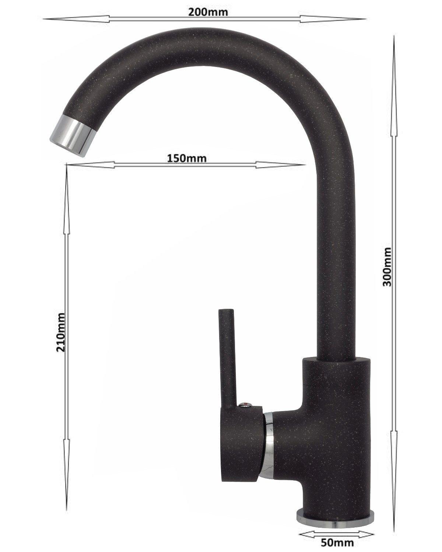 Küchenarmatur Hochdruck Schwarz Granit Wasserhahn Spültischarmatur ...