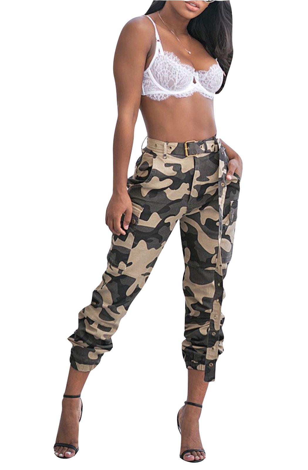FEIYOUNG Women High Waist Camo Multi-Pockets Trouser Pants with Belt