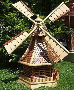 Molino de viento, con madera schindel–Techo, Windmühlen, 1,2m grande color marrón claro claro + natural con/sin iluminación solar ripias de madera maciza para jardín y terraza