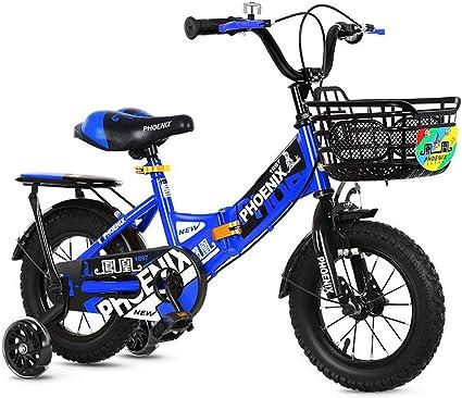UOOGOU Bicicleta para niños con Rueda Auxiliar Bicicleta para niños Bicicleta de montaña Plegable Bicicleta roja/Naranja/Rosa/Azul al Aire Libre con estabilizador: Amazon.es: Deportes y aire libre
