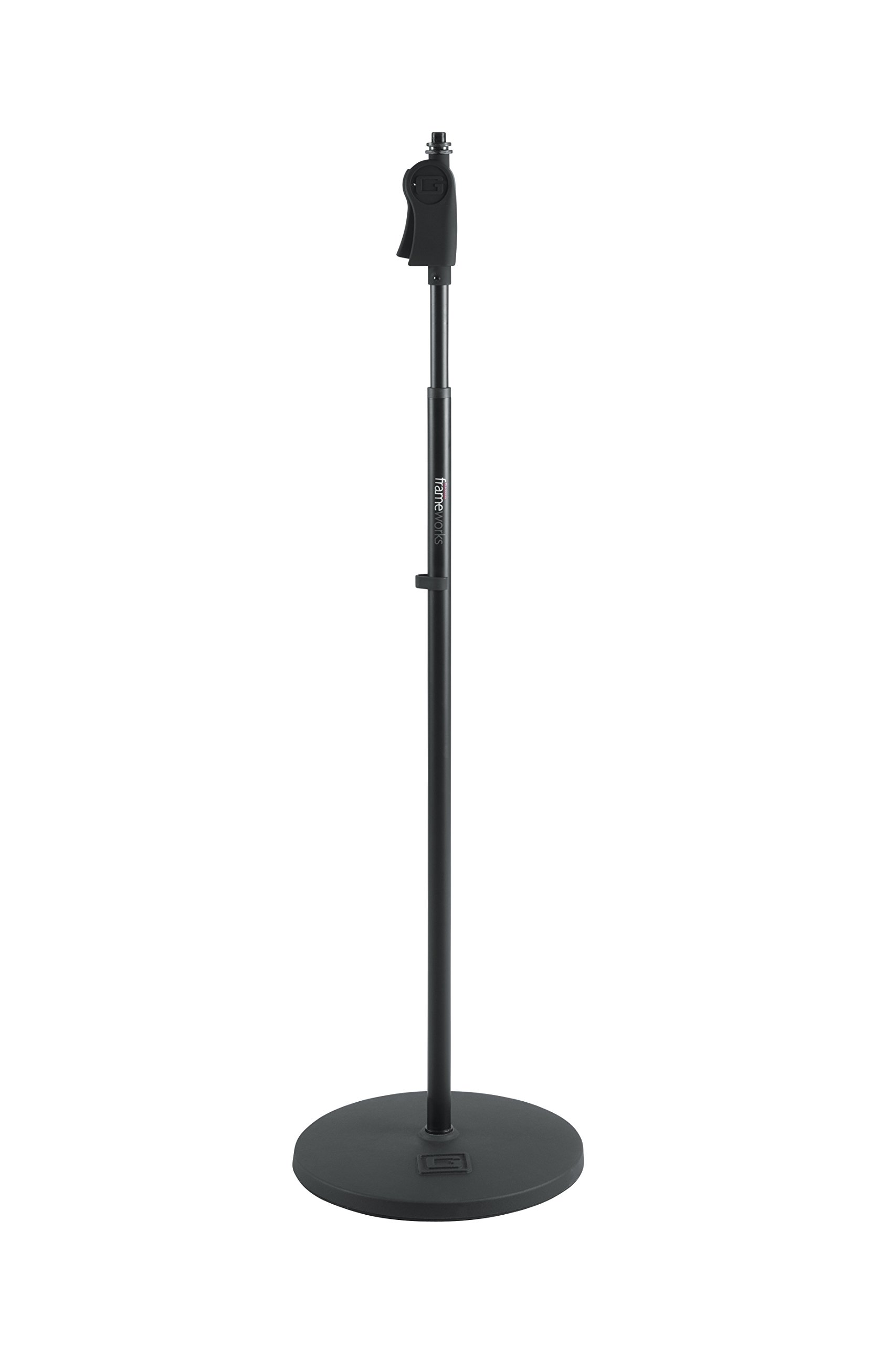 Gator Frameworks Microphone Stand with 12'' Weighted Base and Deluxe Soft Grip Squeeze Height Adjustment (GFW-MIC-1201)