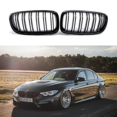 Fit 2012-2020 BMW 3 Series F30 F31 F35 Grille High Gloss BLACK Cool Bussiness Style Replacement Conversion Grill Sturdy ABS Easy To Install: Automotive