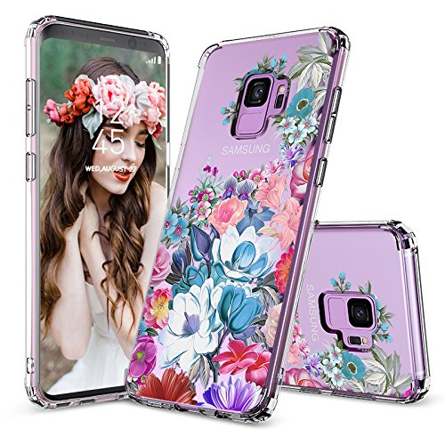 Galaxy S9 Case, Galaxy S9 Clear Case, MOSNOVO Girls Floral Flower Garden Pattern Printed Transparent Clear Design Plastic Back Case with TPU Bumper Protective Case Cover for Samsung Galaxy S9 (2018)