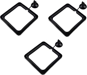 Zelerdo 3 Pack Aquarium Fish Feeding Ring Floating Food Feeder, Square Shape with Suction Cup, Black