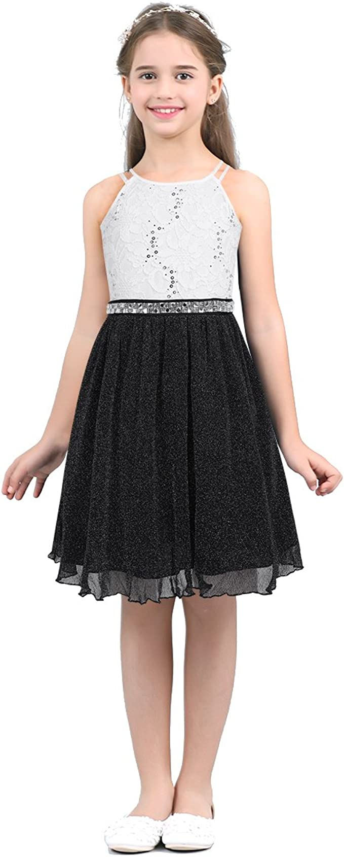 inhzoy inhzoy Kleid für Kinder mit glänzenden Pailletten, für
