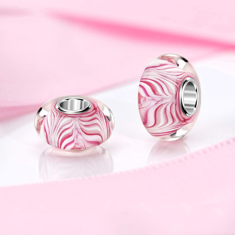 925 colgante de plata con cuentas #952 Materia objetos de cristal de murano beads rosa crema de cer/ámica con dise/ño de cenefas