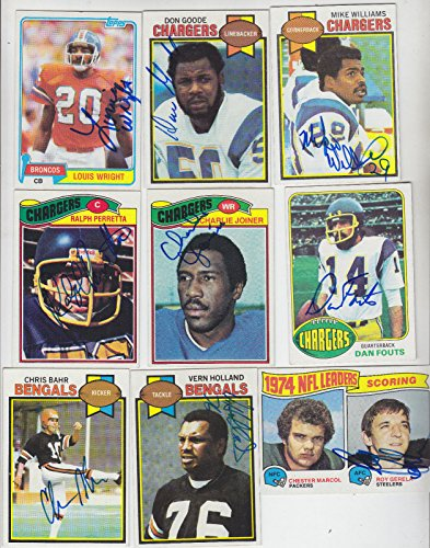 (1977 TOPPS SIGNED CARD CHARLIE JOINER CHARGERS OILERS BENGALS BILLS HOF # 167)