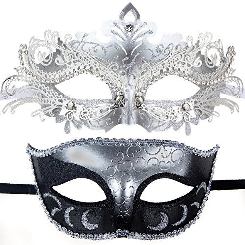 Couples Pair Half Venetian Masquerade Ball Mask Set Party Costume Accessory (silver) (Venetian Half Mask)