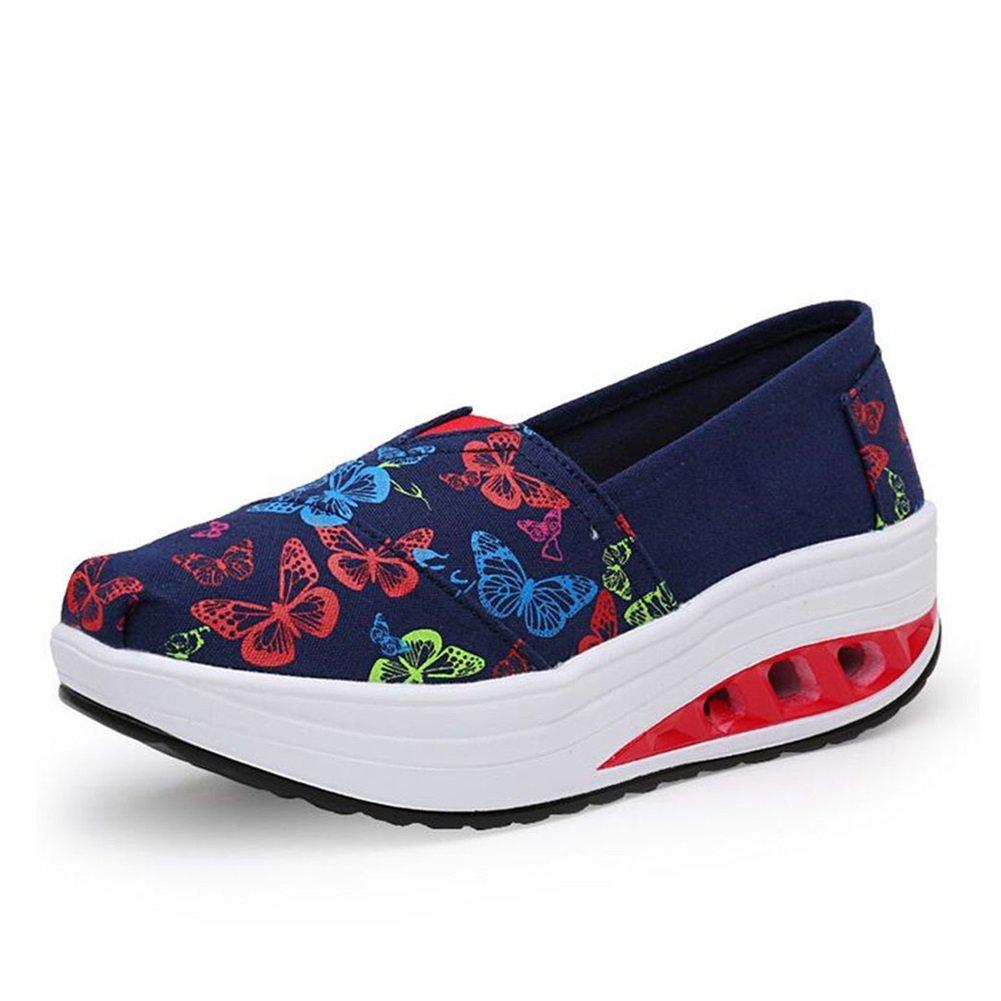 Exing Femmes Chaussures New Slip sur Fond épais Secouer Chaussures Hauteur Augmenter Athlétique Casual Toile Chaussures Air-Coussin Bowknot Chaussures Printemps Automne Nouveau