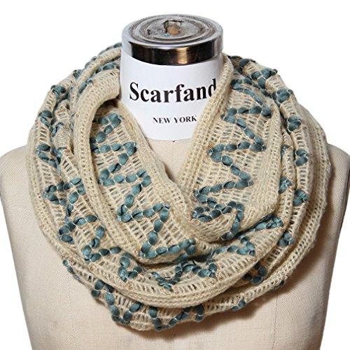 Scarfand Multi-color Zig Zag Chevron Knit Infinity Scarf (Ivory)