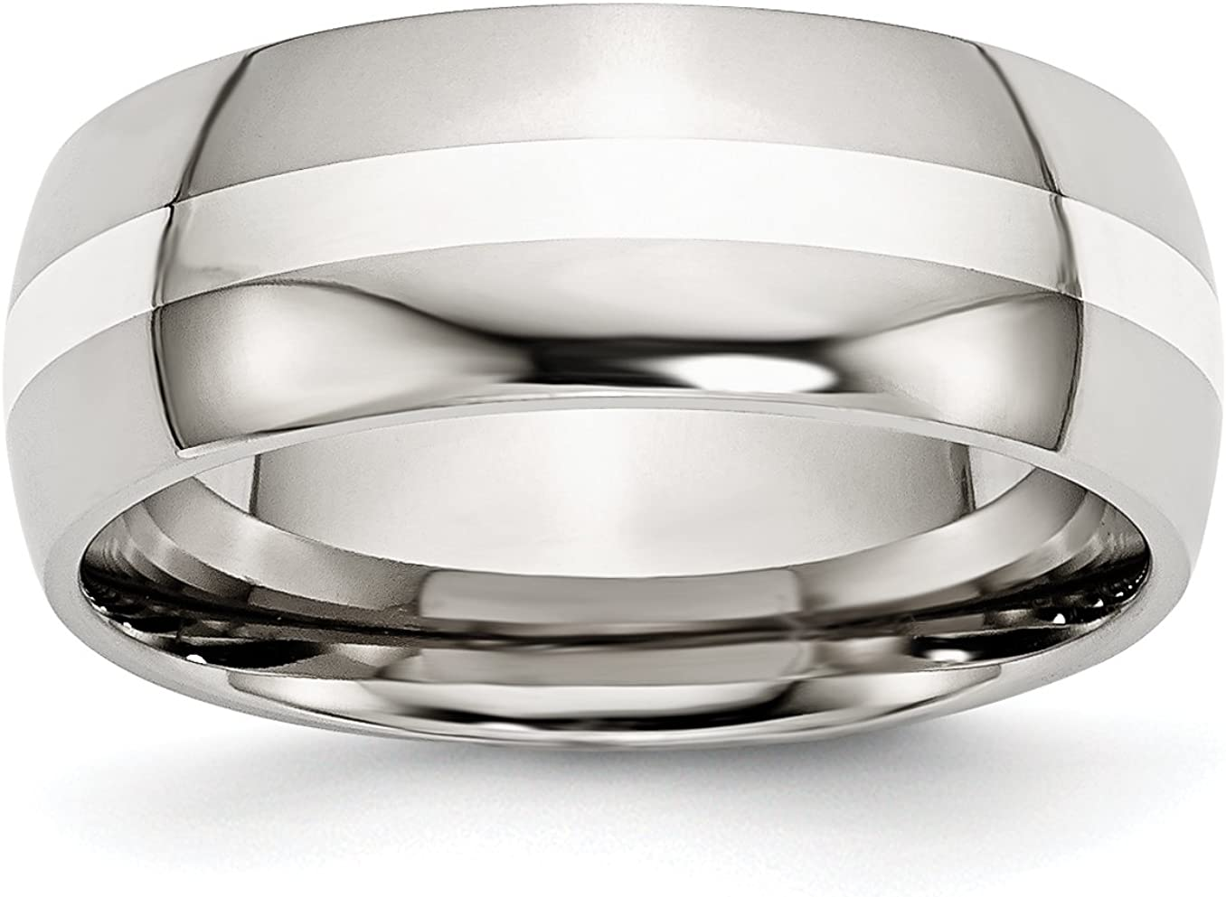 Stainless Steel Sterling Silver Inlay 8mm Polished Band