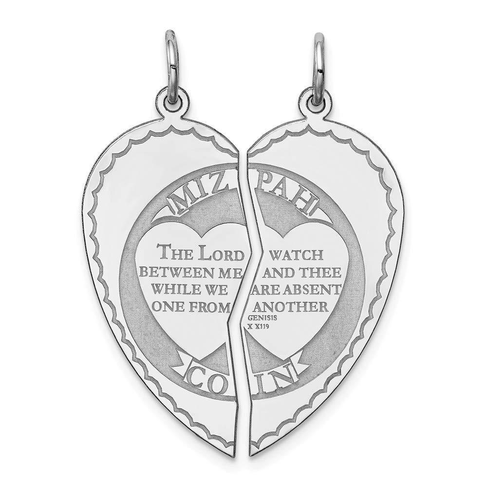 Jewel Tie 925 Sterling Silver Heart Breakapart Mizpah Pendant Charm 13mm x 29mm
