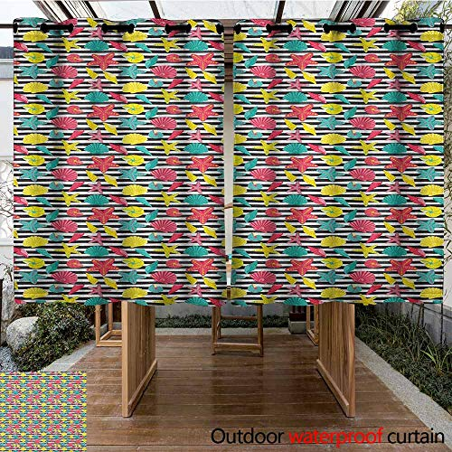 Indoor/Outdoor Curtains,Starfish,Black and White Stripes with Colorful Cartoon Shellfishes Oyster and Seastars,Room Darkening, Noise Reducing,K160C183 Multicolor