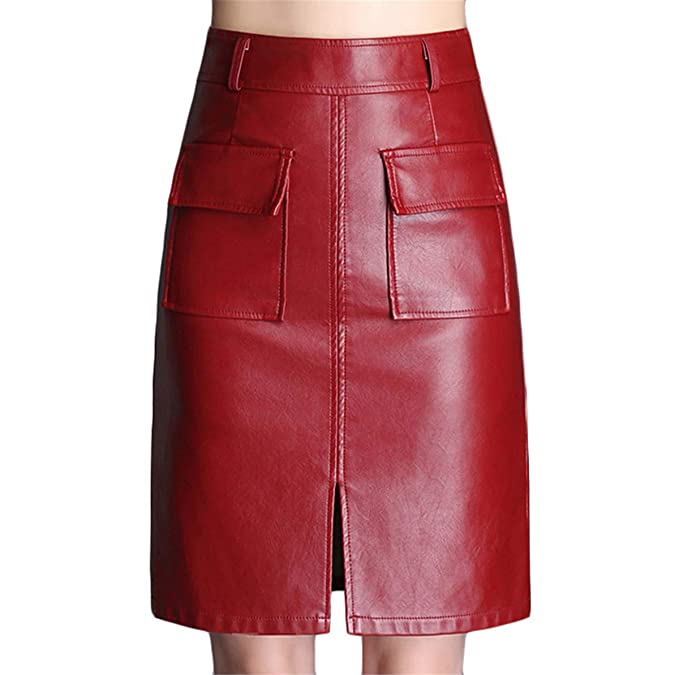 Skitor Mujer Sencillos Falda Lápiz Cuero Atractivo Skirt Push Up ...