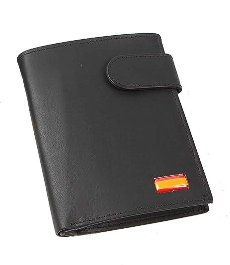 8373303032a Cartera Billetero Monedero Caballero Bandera DE ESPAÑA Piel Color Negro   Amazon.es  Zapatos y complementos