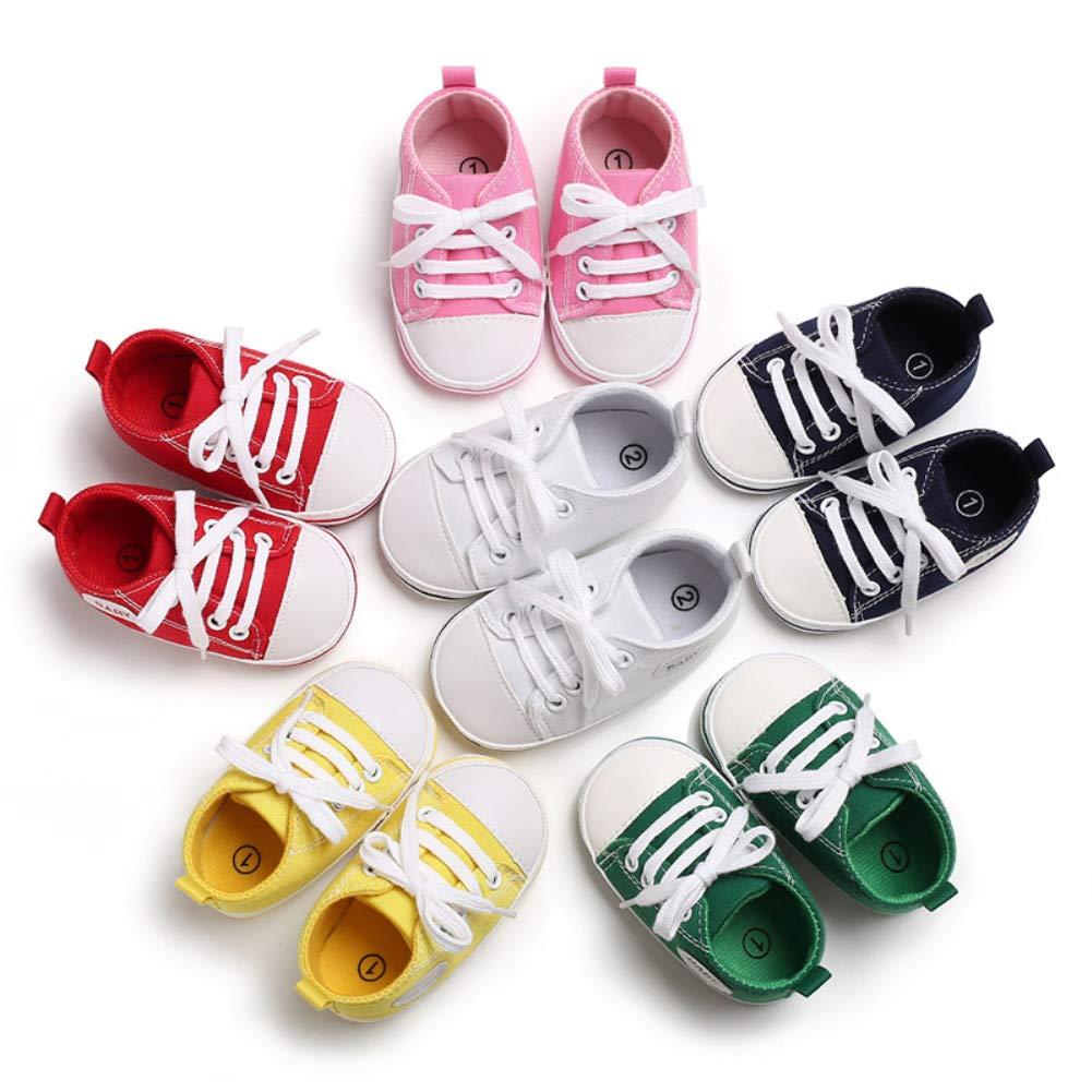 Alamana Fashion Letter Canvas Baby Infant Soft Anti-Slip Lace-up Prewalker Toddler Shoes Blue 11 3-5M