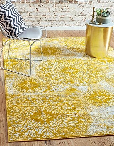 Unique Loom Sofia Collection Yellow 5 x 8 Area Rug (5' x 8')