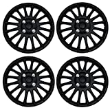 Tuningpros WC3-16-611-B - Pack of 4 Hubcaps - 16-Inches Style 611 Snap-On (Pop-On) Type Matte Black Wheel Covers Hub-caps